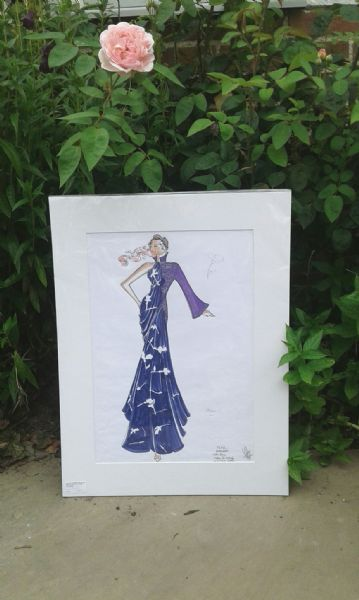 Original French fashion design - Purple evening gown